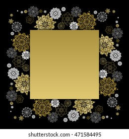 Card template with golden snowflakes. Holiday background mock for banner or ticket. Gold luxury background for winter sale. illustration.