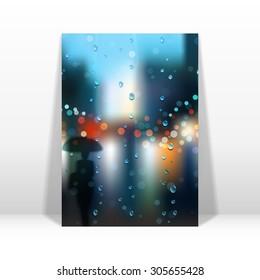 Card template. Rain, wet glass, street, a man with an umbrella. Realistic shadow.