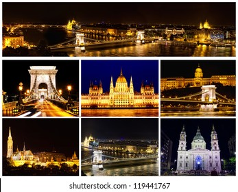 Card with views of night Budapest