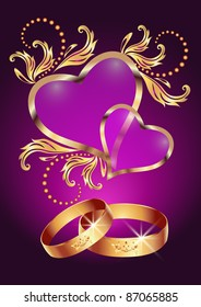 Card with wedding ring and two hearts