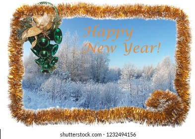 "Card with winter landscape in a frame of yellow Christmas tinsel with emerald Christmas bells.  With the inscription ""Happy New Year!"""