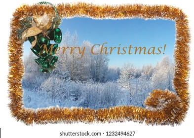 Card with winter landscape in a frame of  yellow Christmas tinsel with emerald Christmas bells.