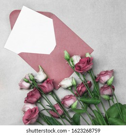 Card for wishes, Roses and Letter, Message