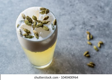 Cardamom Cocktail with Seeds, Cream and Ice.
