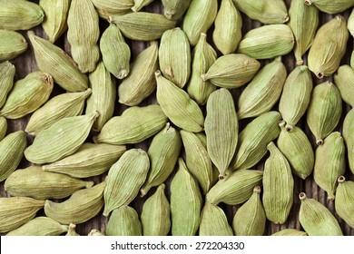 Cardamom green super food indian aroma spice close up background texture