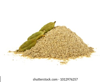 Cardamom powder and pods on a white background