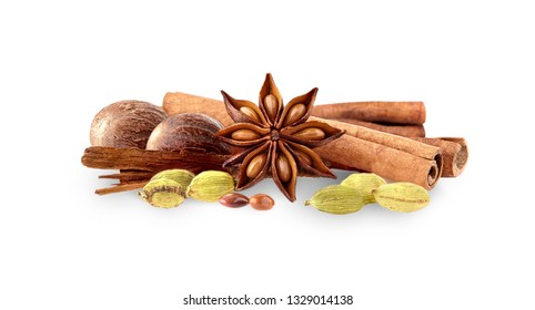 Cardamon, cinnamon, anise and nutmeg on white background. Spices isolated.