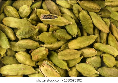 cardamon seeds background. Natural seasoning texture. Natural spices and food ingredients.