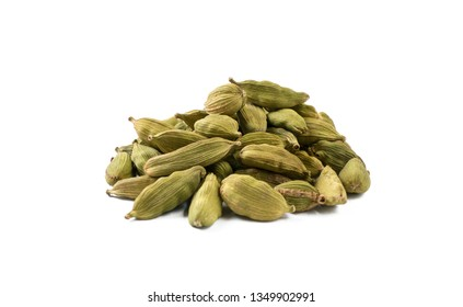 cardamon seeds heap isolated on white background. front view