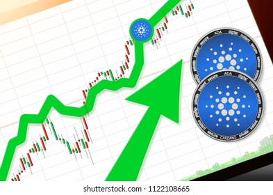 CARDANO (ADA) index rating go up on exchange market; cryptocurrency chart on tablet pc (smartphone) with arrow pointing up and coins cardano. Place for text (prices); top view