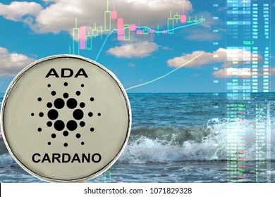 Cardano coin on the background of sea waves and the ocean and financial chart. Vacation with ADA. Freelance concept.