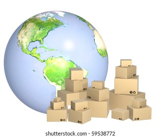Cardboard 3d boxes and Earth