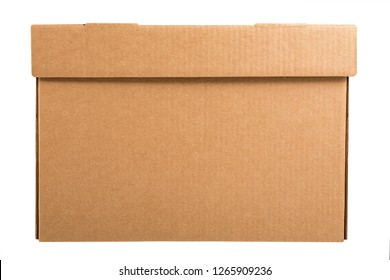 Cardboard archive storage box isolated on white background. Side view