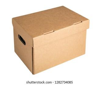 Cardboard archive storage box mockup isolated on white background