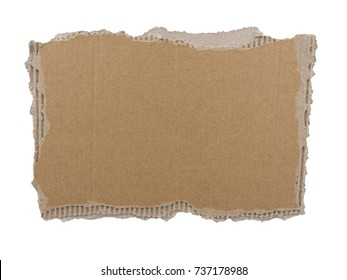 cardboard background. corrugated cardboard torn edge. piece of paper isolated on white