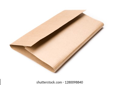 Cardboard book mailer on white background.