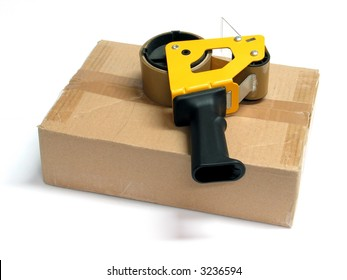 Cardboard box with Adhesive Tape Dispenser
