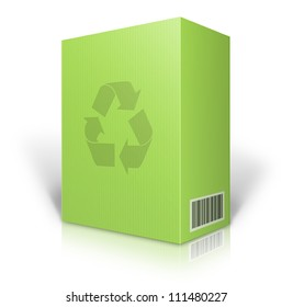 cardboard box blank for shipping order moving or storage with labels and bar code , recycle logo