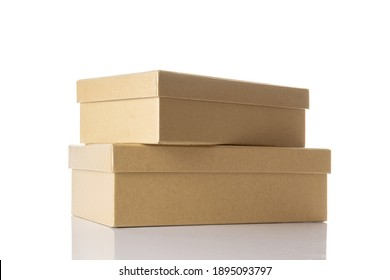 Cardboard box. Brown carton package isolated on white background for shipping delivery. Craft paper object with clipping path.