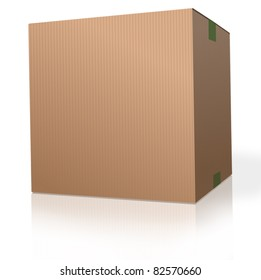 cardboard box brown carton package on white background parcel for moving storage, shipping orders from web shop.  With reflection.