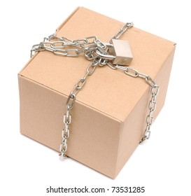 cardboard box closed with a chain and a lock on a white background