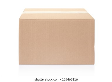 Cardboard box closed with tape isolated on white, clipping path included