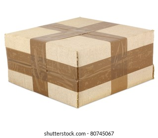 Cardboard box closed with tape, isolated on white background