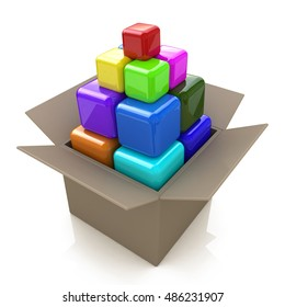 Cardboard box with colored cubes in the design of the information associated with the abstraction. 3d illustration