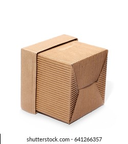 Cardboard box with cover isolated on white background