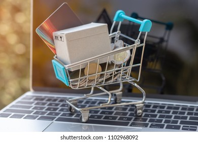 Cardboard box, credit card and Thai coins in trolley on laptop keyboard with nature background. Consumers can buy products directly from seller over internet. Online shopping and e-commerce concept.