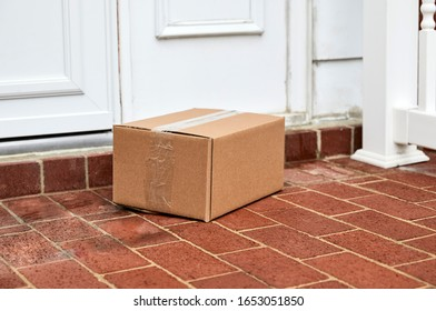 Cardboard box delivered to front door