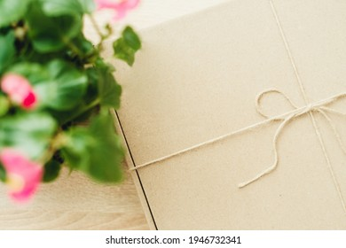 cardboard box and flower on a light background close-up