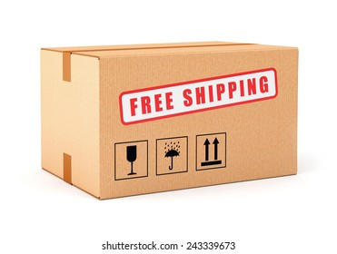 Cardboard box Free shipping label isolated on white background. Online shopping, post delivery and e-commerce concept.