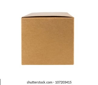 Cardboard box front side with isolated on white