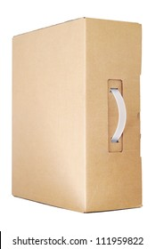 Cardboard box with a handle for laptop