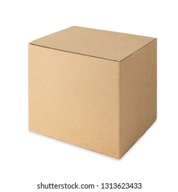 Cardboard box isolated on white background. Side view.