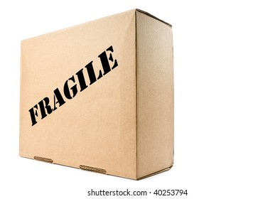 Cardboard Box Labeled Fragile Isolated on White