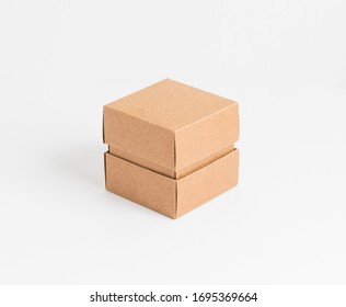 Cardboard box with lid front view isolated on white background. Packaging collection.