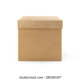 Cardboard box with lid front view isolated on white background. Packaging collection