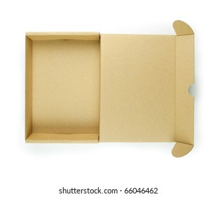 Cardboard box with lid open shot from above. Type of box often used for computer hardware related items such as hard drives and PCI cards.