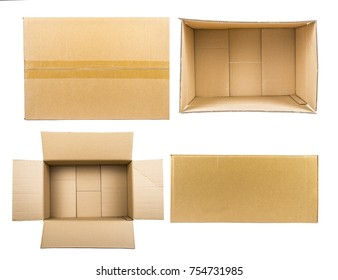 Cardboard box mockup set. Isolated on white