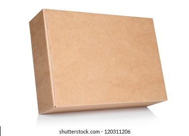Cardboard box on white background with reflection