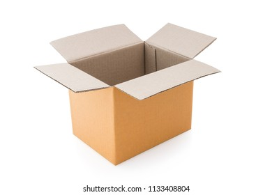 Cardboard box - Open cardboard box isolated on a white background with clipping path.
