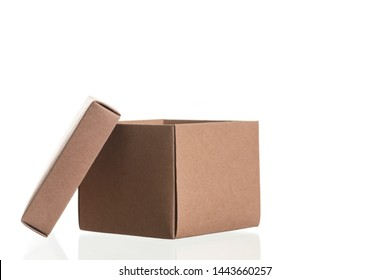 cardboard box for parcels from сraft isolated on white background, delivery concept, mock up, copy space