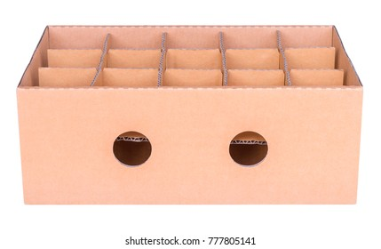 Cardboard box and partitions isolated on white background