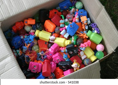 a cardboard box of prizes