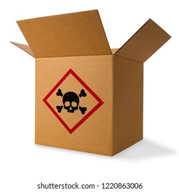 Cardboard box with skull and cross-bones sign