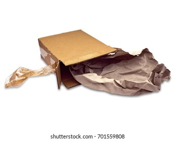 Cardboard box; small open cardboard box with paper packaging spilling out; isolated against white ground