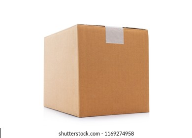 Cardboard box taped up isolated on a white background with clipping path.