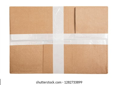 Cardboard box with white sticky tape isolated on white background. Top view. Flat lay